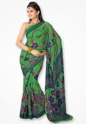 Rajshree Lime Green Designer Printed Saree