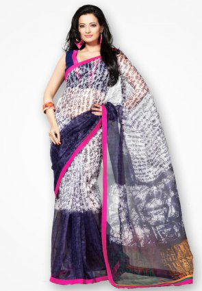 Rannchhod Black And Off White Net Saree