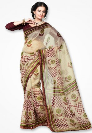 Rannchhod Corn Flower Cream Net Saree