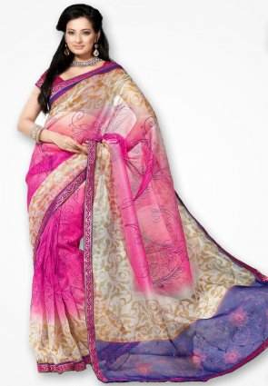 Rannchhod Designer Light Pink Net Saree