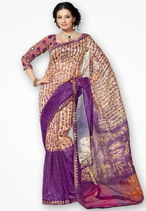 Rannchhod Golden And Violet Net Saree