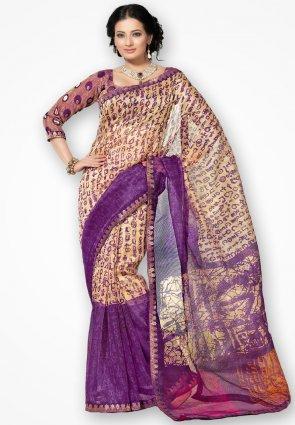 Rannchhod Golden And Violet Net Saree