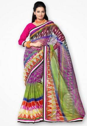 Rannchhod Multi Color Stylish Net Saree