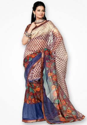 Rannchhod Multicolor Corn Flower Net Saree