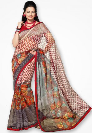 Rannchhod Multicolor Floral Print Net Saree