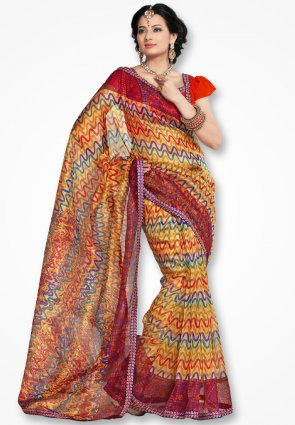 Rannchhod Multicolor Net Saree With Fancy Lace Border