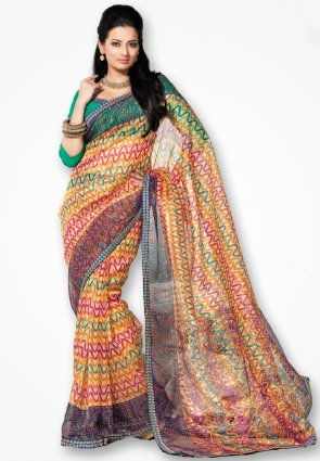 Rannchhod Multicolor Net Saree With Lace Border