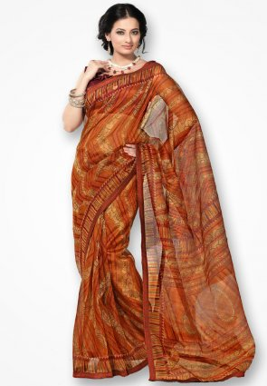 Rannchhod Orange Zigzag Designer Net Saree