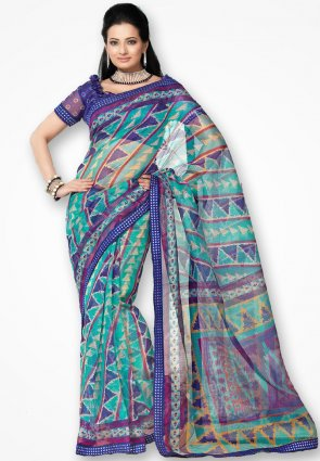 Rannchhod Sky And Blue Cross Print Net Saree