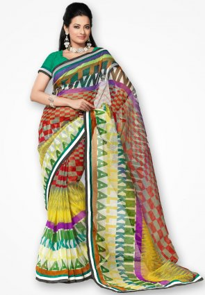 Rannchhod Stylish Multicolor Checks Net Saree