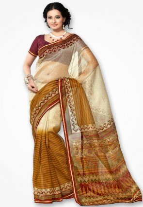 Rannchhod Stylish Mustard Yellow Net Saree
