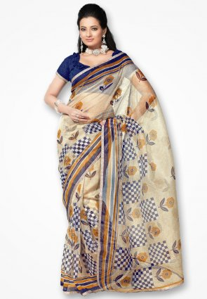 Rannchhod White And Blue Checks Net Saree
