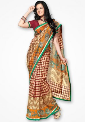 Rannchhod Cream And Red Designer Net Saree