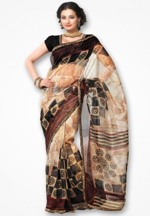 Rannchhod Cream Stylish Net Saree