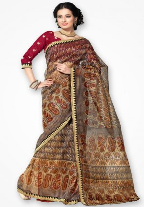 Rannchhod Fancy Gray Net Saree With Lace Border