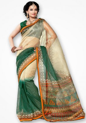 Rannchhod Green And Cream Net Saree