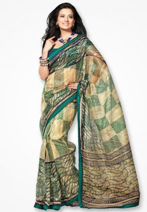Rannchhod Jade Green Checks Net Saree