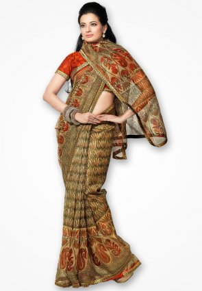 Rannchhod Mahendi Color Floral Net Saree