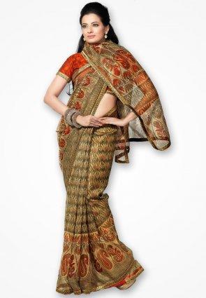 Rannchhod Mahendi Color Floral Net Saree