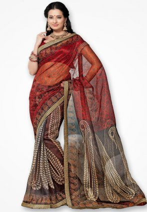 Rannchhod Red And Black Big Flower Net Saree