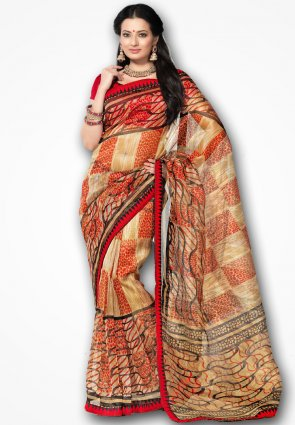 Rannchhod Red And Orange Net Saree