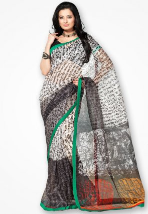 Rannchhod White And Black Designer Net Saree