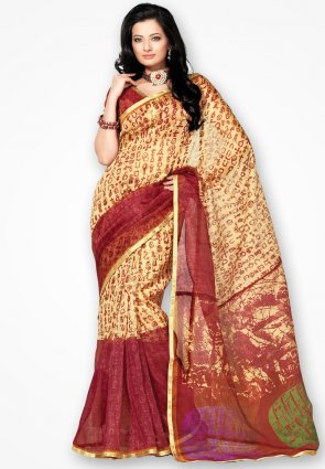 Rannchhod Yellow And Red Printed Net Saree