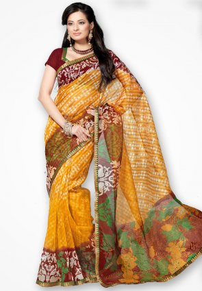 Rannchhod Yellow Stylish Net Saree With Lace Border